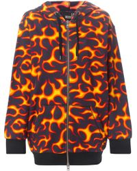 Love Moschino Flame Print Hooded Zipped Up Cardigan - Lyst