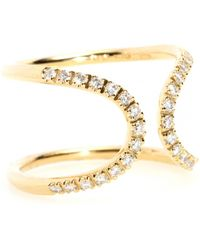 Roberto Marroni 18kt Yellow Gold Ring with White Diamonds - Lyst