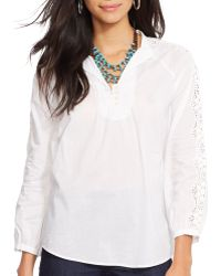 Ralph Lauren Lauren Cotton Crochet Top - Lyst