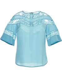 Elie Saab Blue Double Silk Georgette and Lace Top - Lyst