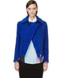 Marni Blue Shearling Leather Jacket - Lyst