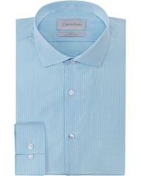 Calvin Klein Micro Plaid Slim Fit Dress Shirt - Lyst