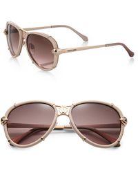 Roberto Cavalli - Leather-wrapped 57mm Aviator Sunglasses - Lyst