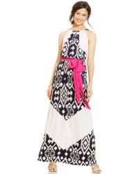 Vince Camuto Ikat Chevron-Stripe Belted Maxi Dress - Lyst