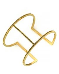 Vince Camuto Gold Tone T Bar Cuff Bracelet - Lyst