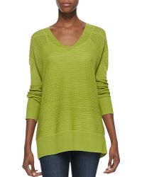 Halston Heritage Perforated Vneck Sweater - Lyst