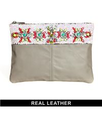 Asos Leather Jewelled Flower Clutch Bag - Lyst