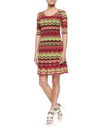 M Missoni Zigzag Striped Knit Dress - Lyst