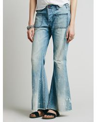 Free People Womens Morrison Washed Flare - Lyst