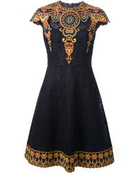 Valentino Embroidered Floral Lace Aline Dress - Lyst