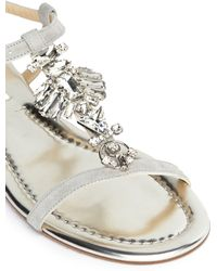 Jimmy Choo Night Jewel Suede Sandals - Lyst