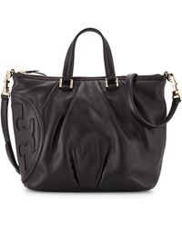 Tory Burch All-T Leather Satchel Bag - Lyst