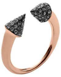 Michael Kors Pavé-embellished Rose Gold-tone Arrow Ring - Lyst