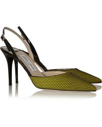 Jimmy Choo Tilly Honeycomb-mesh and Patent-leather Pumps - Lyst