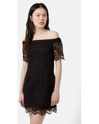 Topshop Off-The-Shoulder Lace Dress black - Lyst