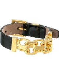 Alexander McQueen Chain and Leather Skull Bracelet - Lyst