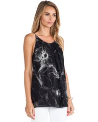 Milly Etched Floral Pleated Tank - Lyst