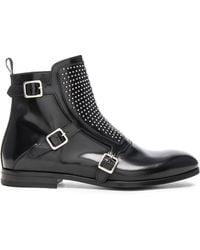 Alexander McQueen   Studded Triple Monkstrap Leather Boots   Lyst