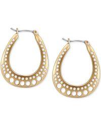 T Tahari - Gold-tone Cutout Hoop Earrings - Lyst