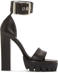 Alexander McQueen Black Leather Platform Sandals - Lyst