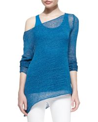 Donna Karan New York Bateau-Neck Long-Sleeve Ribbon Jersey Top - Lyst