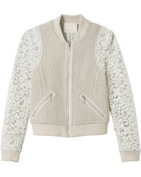 Rebecca Taylor Texture Bomber Jacket with Lace - Lyst