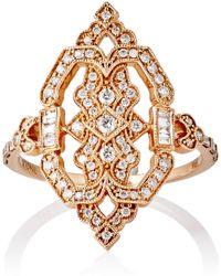 Stone - Women's White Diamond Garbo Shield Ring - Lyst