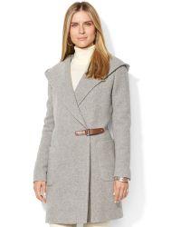 Lauren Ralph Lauren Hooded Herringbone Wool-Cashmere-Blend Wrap Coat - Lyst