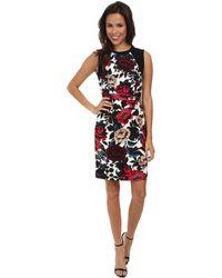 Adrianna Papell Sleeveless Dress W/ Sweater Trim - Lyst