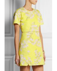 Giambattista Valli Floral-print Matelassé Cotton Mini Dress - Lyst
