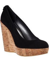 Stuart Weitzman Corkswoon Wedge Pump Black Suede - Lyst