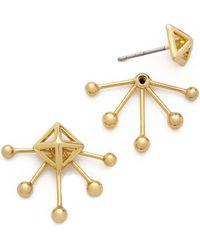 Rebecca Minkoff Pyramid Fan Stud Earrings - Gold - Lyst