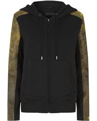Francis Leon - Leather Sleeve Hoody - Lyst