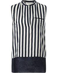 3.1 Phillip Lim Two Tone Stripe Sleeveless Shirt - Lyst