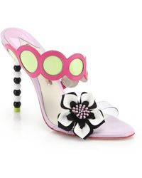 Sophia Webster Amazona Bead-Heel Leather Mule Sandals - Lyst