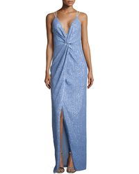 Halston Heritage Sleeveless V-Neck Twist Sequined Gown - Lyst
