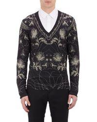 Alexander McQueen Floral V-neck Pullover Sweater - Lyst
