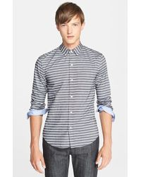 Band of Outsiders Extra Trim Fit Stripe Oxford Shirt - Lyst