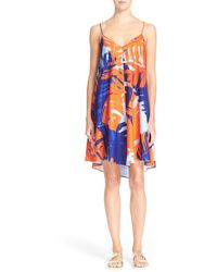 N Nicholas - Palm Print Crepe Dress - Lyst