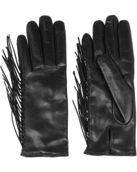 Valentino - Fringed Leather Gloves - Lyst