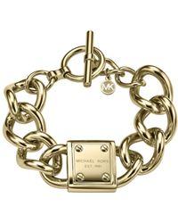 Michael Kors Gold-Tone Plaque Bracelet - Lyst