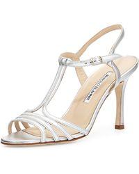 Manolo Blahnik Rebuf Metallic T-Strap Sandal - Lyst