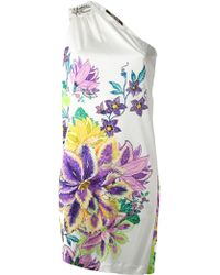 Roberto Cavalli Floral Print One Shoulder Dress - Lyst