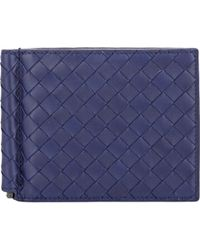 Bottega Veneta Intrecciato Money Clip Bifold Wallet blue - Lyst