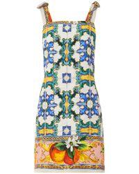 Dolce & Gabbana Sicilian Orange Mosaic-print Brocade Dress - Lyst