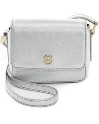 Tory Burch Robinson Mini Bag Silver - Lyst