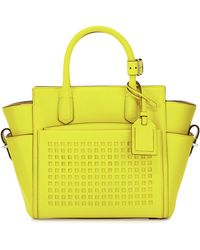 Reed Krakoff Perforated-Front Atlantique Mini Leather Tote Bag yellow - Lyst