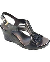 Clarks Star Gaze Leather Wedge Sandals - Lyst
