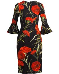 Dolce & Gabbana Carnation-Print Fluted-Sleeve Dress - Lyst
