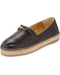 Prada Leather Cap-Toe Flat Espadrille - Lyst